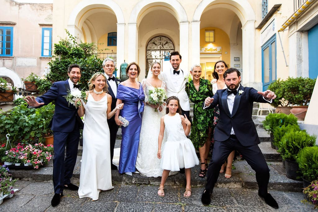 family with bride and groom in capri destination wedding