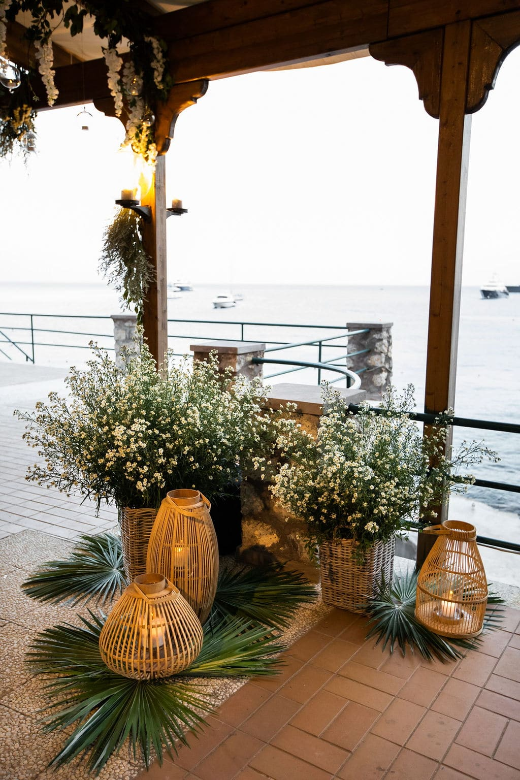 boho light lanterns and lots of greenery and plants