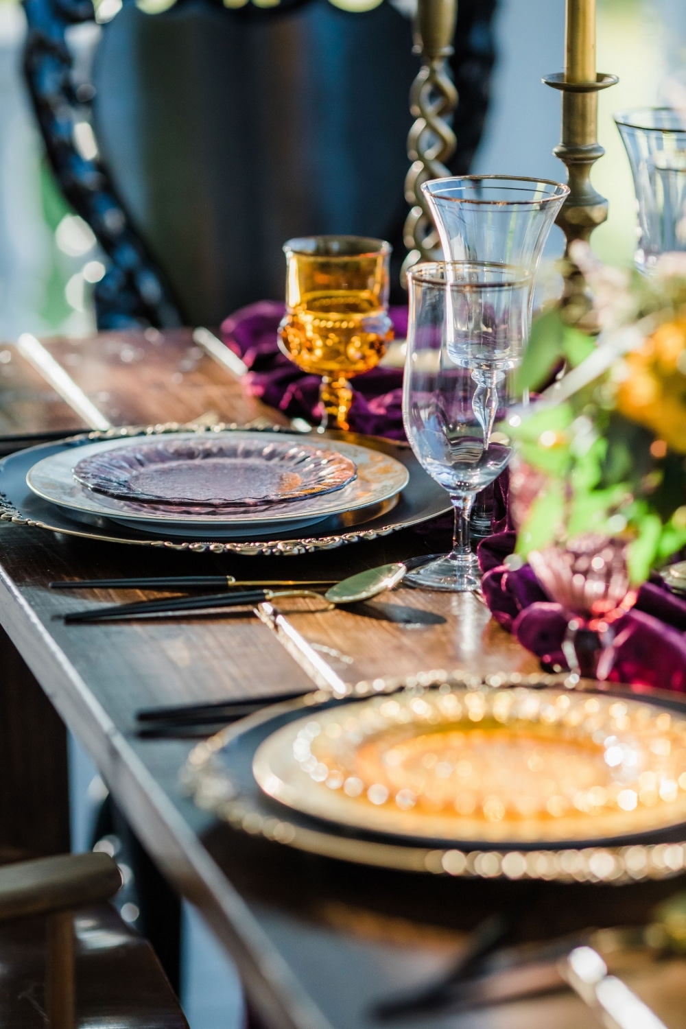 purple and clear fall toned table settings
