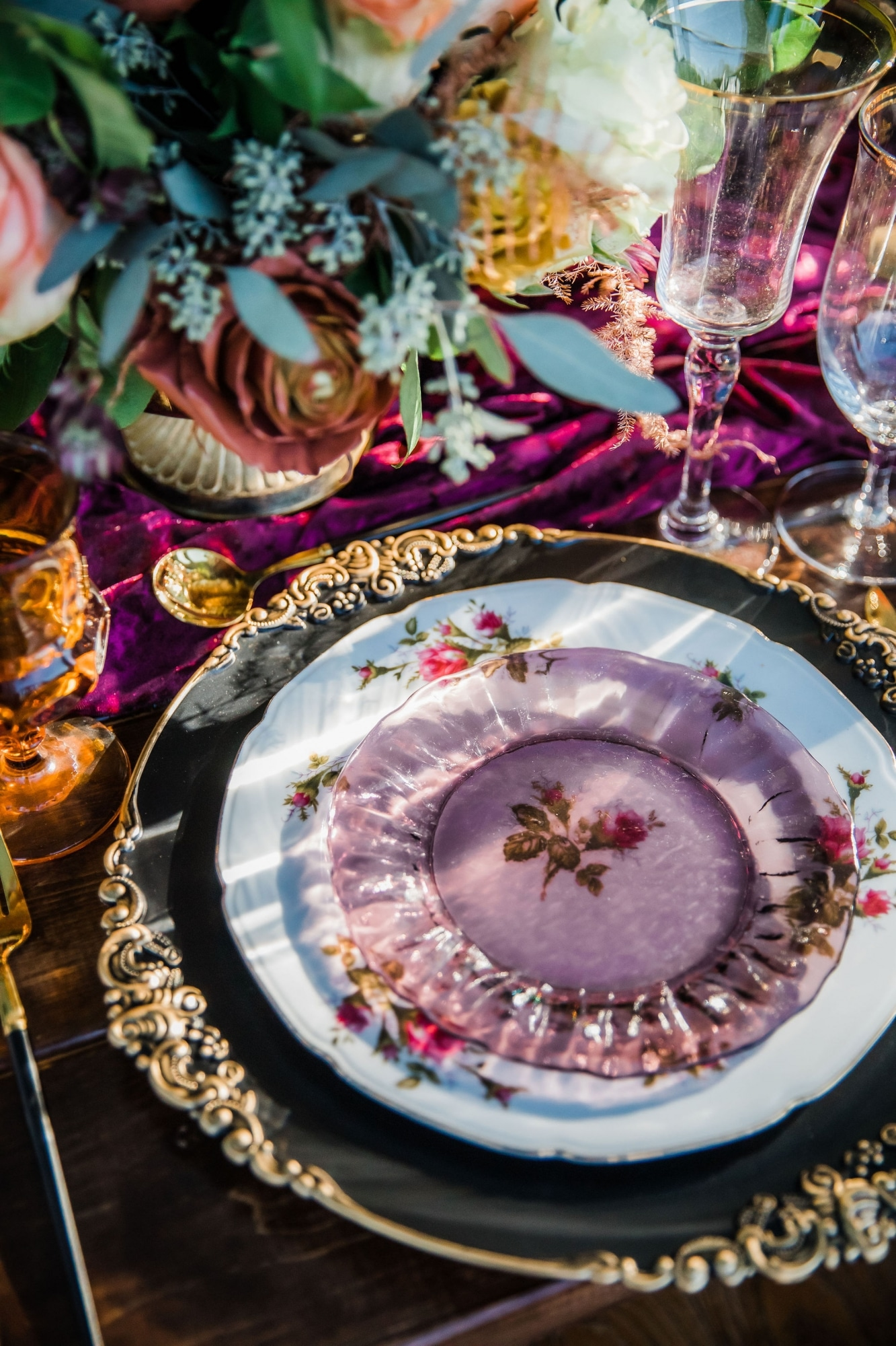 beautiful purple fall plate and table setting for autumn wedding