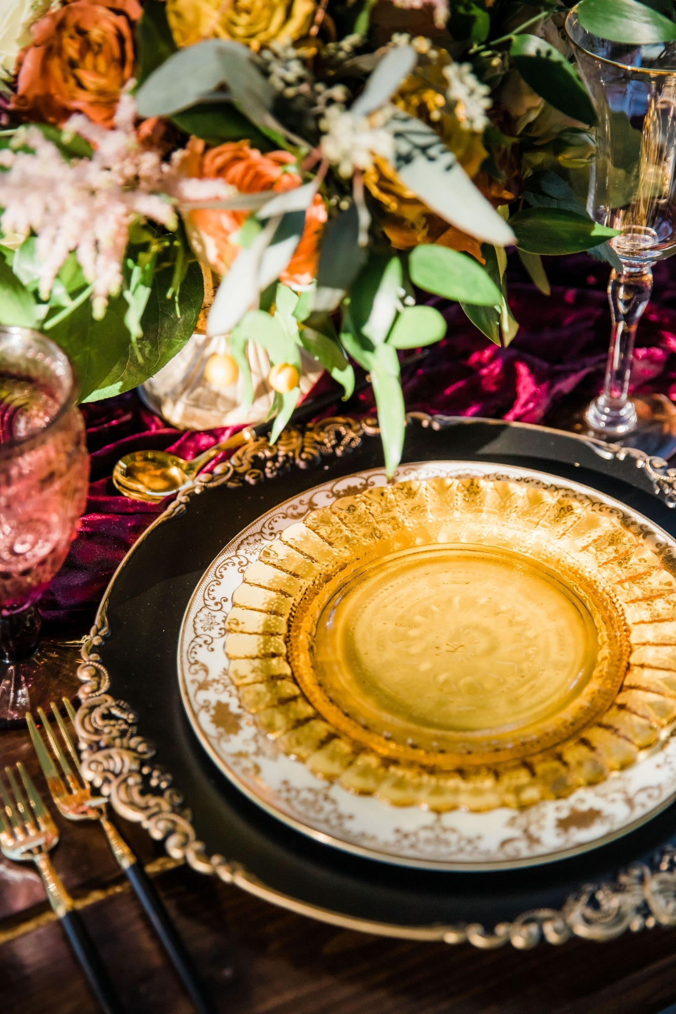 golden yellow plate in fall wedding table setting