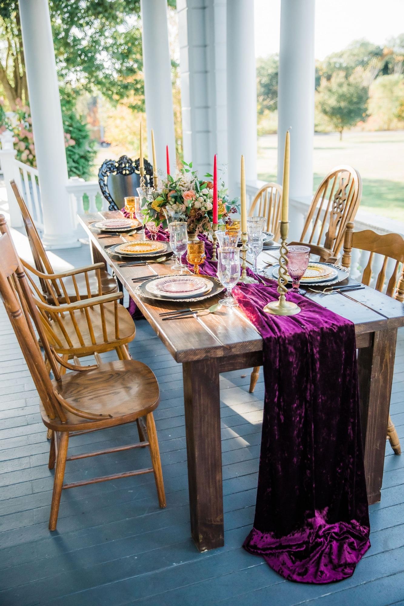 table setup for fall wedding